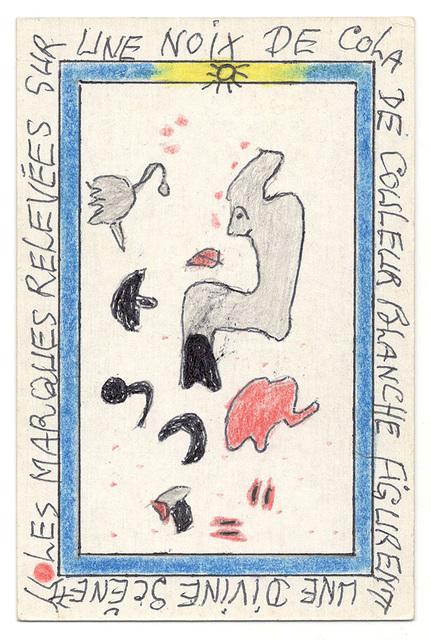 , 'Les marques relevées sur une noix de cola de couleur blanche figurent un divine scène.,' 2007, Magnin-A