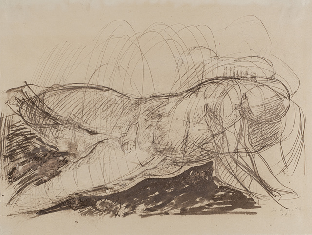 Marino Marini, 'Nudo maschile', 1941, Drawing, Collage or other Work on Paper, Ink on paper, Il Ponte