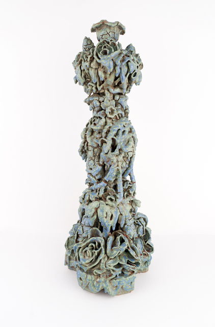 Anthony Sonnenberg, 'Candle Column (Modeled Blue/Green)', 2020, Sculpture, Porcelain over stoneware, found ceramic tchotchkes & glaze, Conduit Gallery