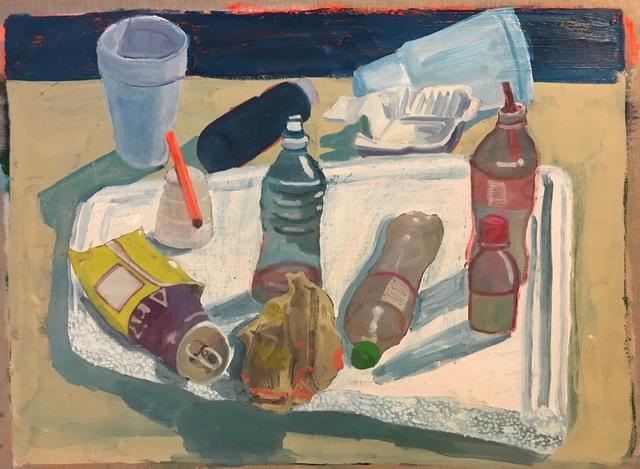 , 'Objects on Styrofoam Lid,' 2018, Mindy Solomon Gallery