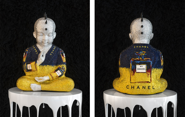 , 'CHANEL NO. 5 in blue and yellow III feat Warhol,' 2017, SPONDER GALLERY