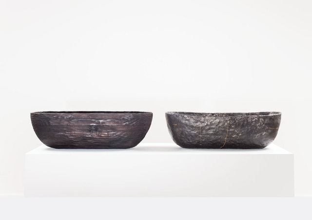 , 'LaminatedPinewood Bowl, charred. Smolder-firedEarthenware Bowl, Crackedand Mended.,' 2014, Volume Gallery
