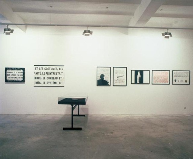 ", 'Installation view of the exhibition ""Barbara Bloom, Marcel Broodthaers, Daniel Buren, Louise Lawler, Allan McCollum"",' 1989, Galerie Isabella Czarnowska"