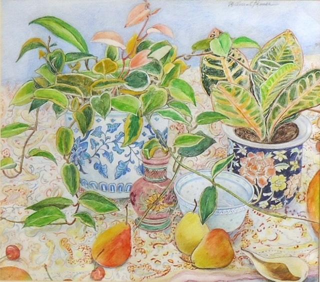 , 'Croton, Pears, Porcelain Vase on Paisley,' 2014, Cerulean Arts