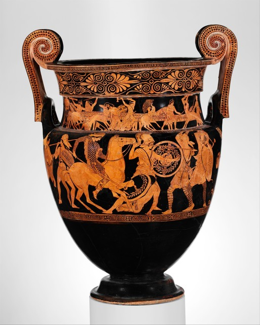 Attributed to the Painter of the Woolly Satyrs, 'Terracotta volute-krater (bowl for mixing wine and water)', ca. 450 B.C., The Metropolitan Museum of Art