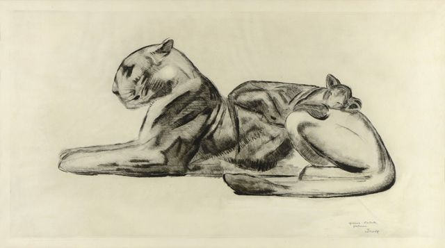 , 'Lioness and its Lion Cub,' ca. 1927, Galerie Marcilhac