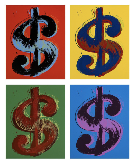 (after) Andy Warhol, 'Dollars Signs (set of 4)', 1967 printed later, Reproduction, Silkscreen on Museum Board, Pinto Gallery