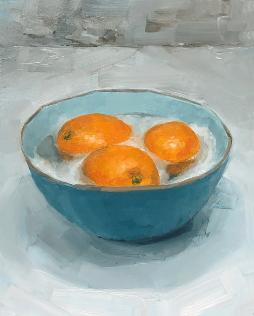 Tom Giesler, 'Health Study 21: warm soapy water with oranges', 2020, Painting, Oil on panel, McVarish Gallery