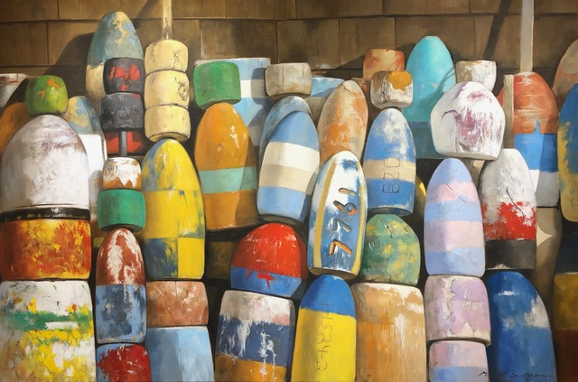 ", '""Crayola"" photorealistic oil painting of colorful buoys against shingles,' 2019, Eisenhauer Gallery"