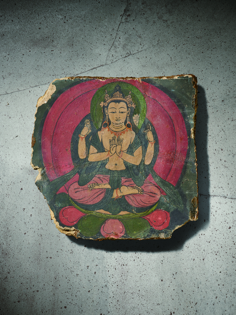 , 'A Polychrome Fresco Fragment of Rectangular Form Painted with Shadhasuri Lokeshvara 西藏13|14世紀 灰泥彩繪四臂觀音圖壁畫殘部,' Tibet: 13|14th century, Rasti Chinese Art