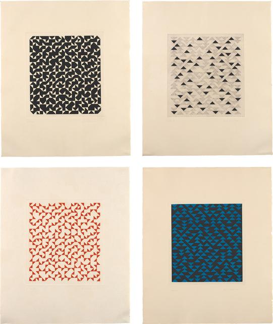 Anni Albers, 'Four works: (i) Triangulated Intaglio II; (ii) Triangulated Intaglio III; (iii) Triangulated Intaglio IV; (iv) Triangulated Intaglio V', Phillips