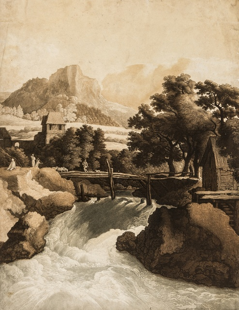 Johann Gottlieb Prestel, 'Waterfall in a Rocky Landscape, with woodland and mountains beyond, after Jacob van Ruisdael', circa 1800, Forum Auctions