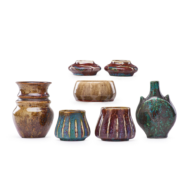 Pierre Adrien Dalpayrat, 'Seven Small Oxblood And Turquoise Vases/Vessels, France', 1890s-1910s, Rago/Wright