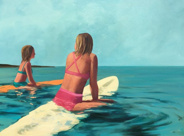 , '''Waiting for Waves'' oil painting of two girls in bikinis floating on surfboards,' 2019, Eisenhauer Gallery