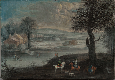 Winter Scene with Foreground Hunters and Figures Playing on the Ice