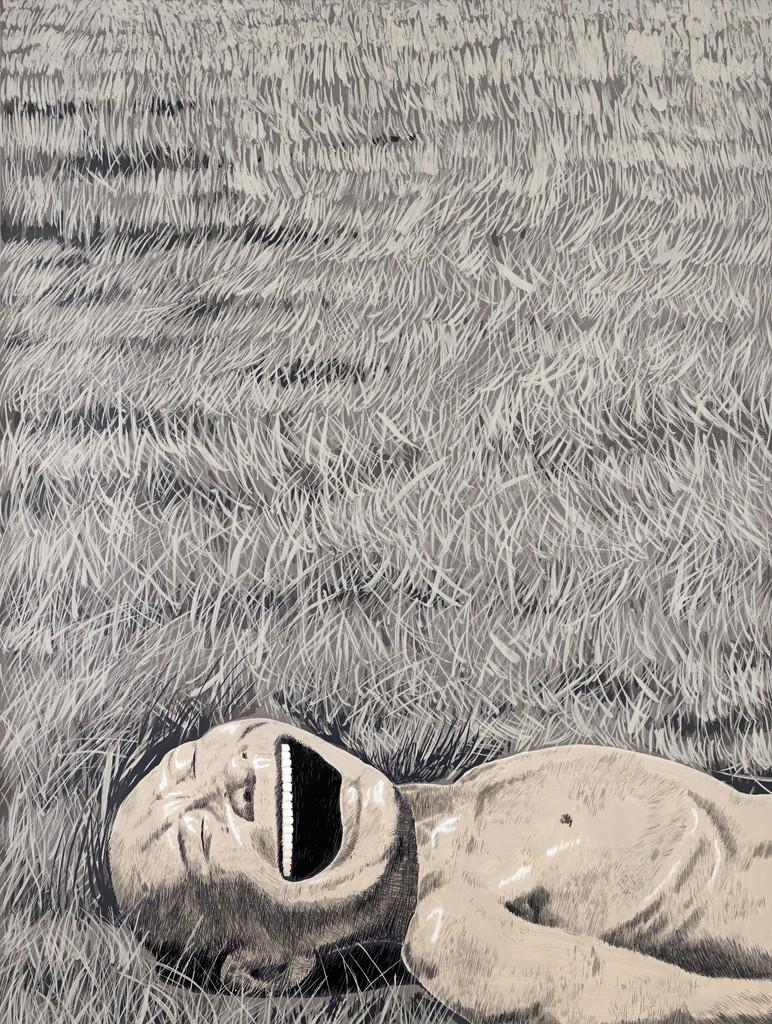 The Grassland Series Screenprint 3 (Lying Head Laughing)