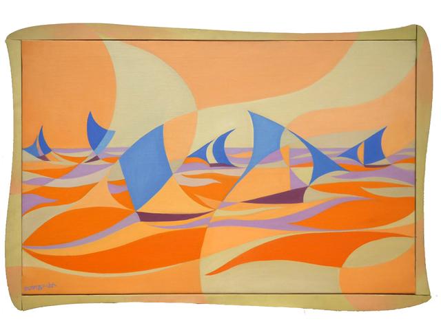 , 'Linee forza di mare Casa Balla [Linee forza di mare rosa],' ca. 1919, Mazzoleni