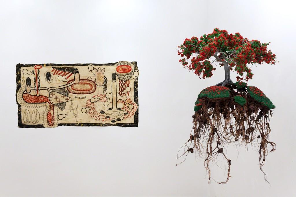 """Simone Pellegrini """"Golfo dei Flutti"""", 2016, mix media, 80x160cm Jorge Mayet, """"Revive"""", 2015, wire, paper mache, sponge, acrylics, textile, 90x60x60cm"""