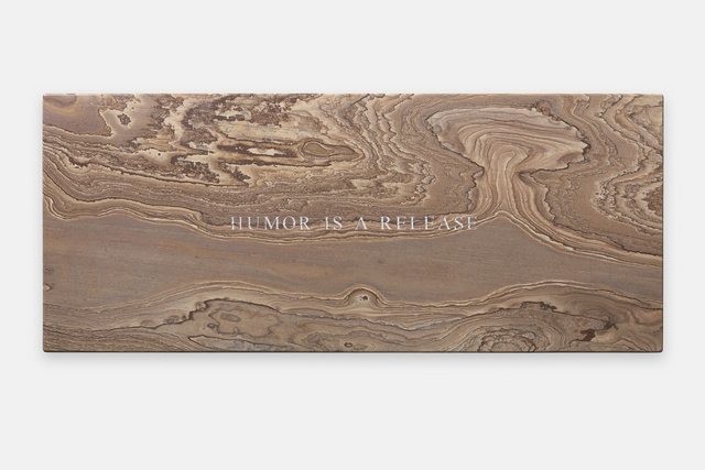 Jenny Holzer, 'Humor is a release', 2019, Sculpture, Oak Stone bench, Sprüth Magers