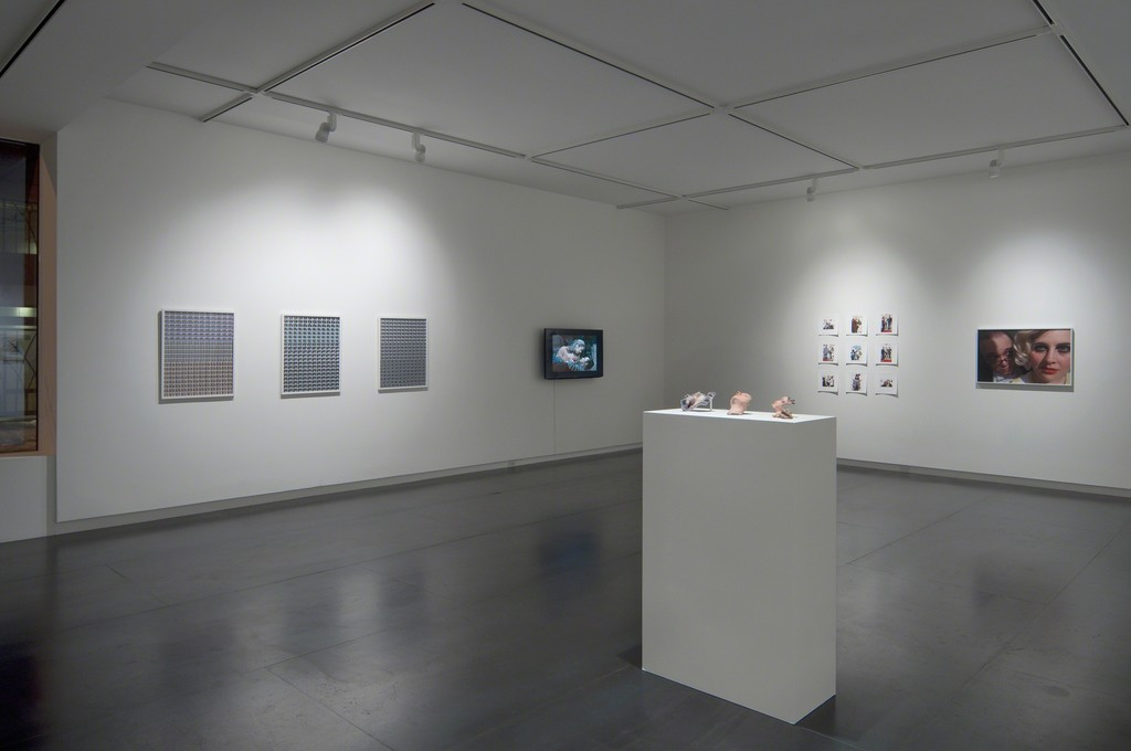 Left to right: three photographic prints by Julie Perini, video by Julie Perini, 3D printed sculptures by Lorna Barnshaw, ten photographic prints by Jordan Rathus.