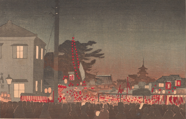 , 'Year-end Market at Sensōji temple,' Meiji era-1881, Smithsonian Freer and Sackler Galleries