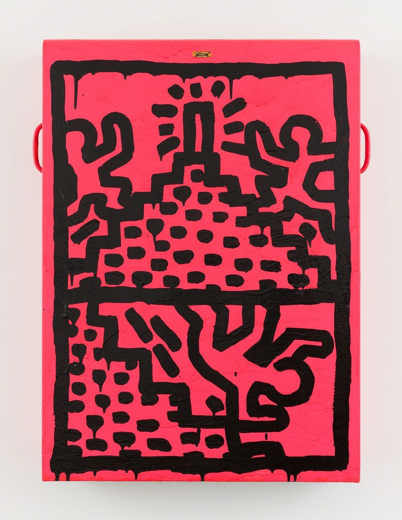 Keith Haring, Untitled, 1982, Enamel on sheet metal. 35 3/8 x 25 x 5 1/2 inches (89.9 x 63.5 x 14 cm)