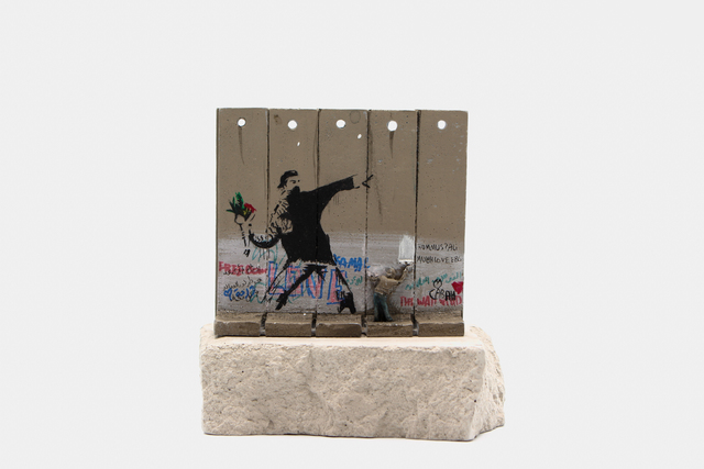 Banksy, 'Walled Off Hotel - Wall Sculpture (Flower Thrower)', 2018, Ephemera or Merchandise, Miniature concrete souvenir sculpture, hand painted by local artists, Lougher Contemporary