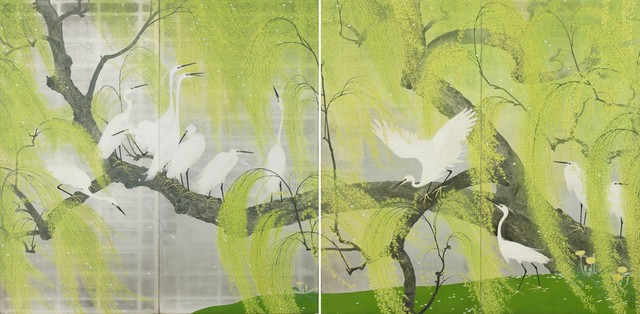 , 'A pair of two-fold screens with egrets perched on the branches of a willow tree,' 1934, Gregg Baker Asian Art