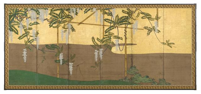 , 'Folding Screen with White Wisteria (T-3684),' Edo Period (1615-1868) 1800, Erik Thomsen