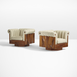 Phillip Lloyd Powell, 'Rare carved panel lounge chairs, pair,' c. 1970, Wright: Design Masterworks