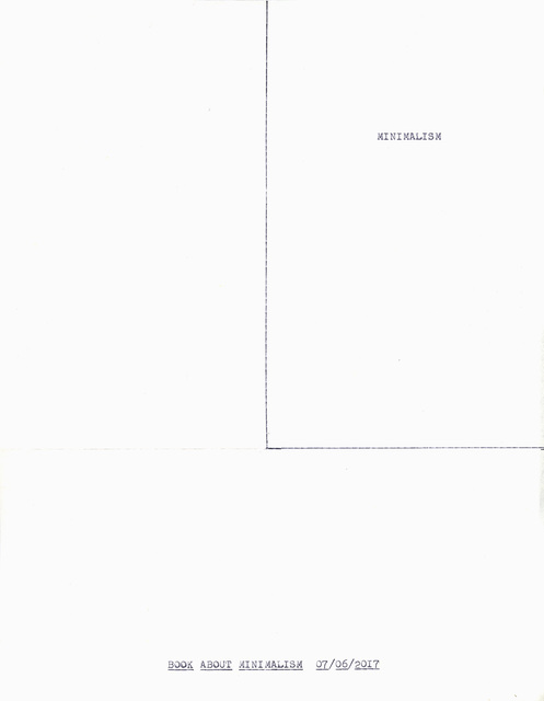""", '""""Book About Minimalism"""" in the series """"Typewriter Drawings"""",' 2017, Catharine Clark Gallery"""