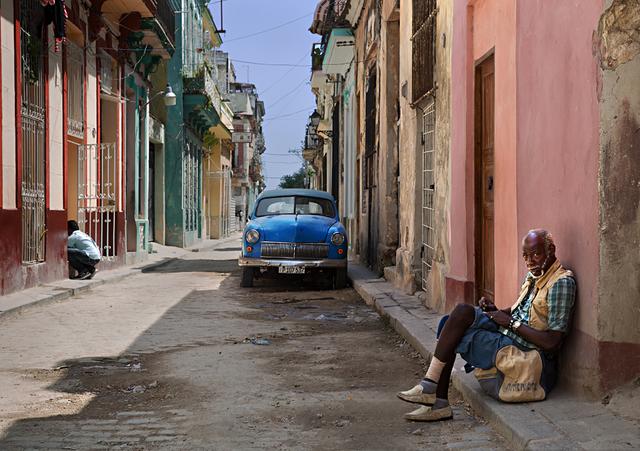 , 'Old Havana with Blue Car,' , Soho Photo Gallery