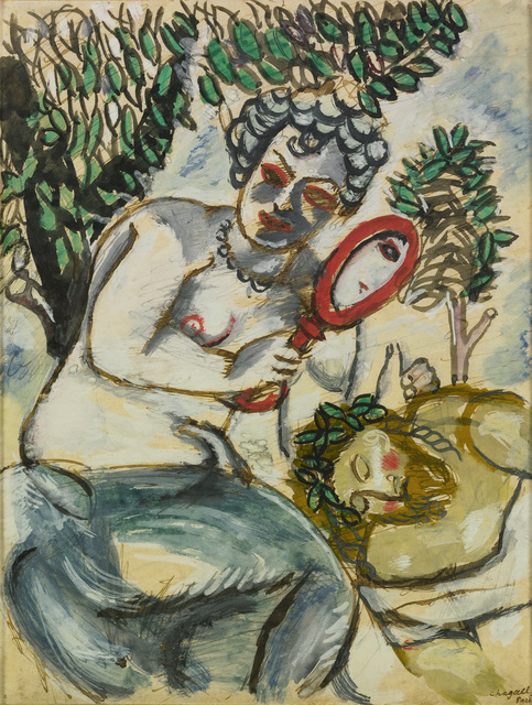 Marc Chagall, 'Samson and Delilah (Le Miroir)', 1911, Drawing, Collage or other Work on Paper, Watercolour and gouache on paper, Omer Tiroche Gallery