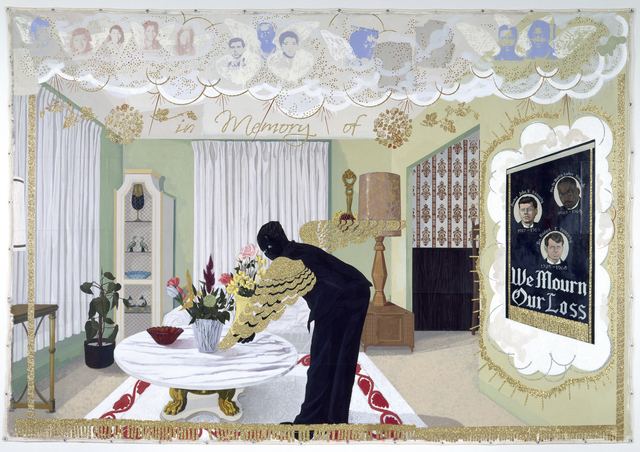 Kerry James Marshall, 'Souvenir I', 1997, Painting, Acrylic, collage, and glitter on unstretched canvas, MCA Chicago