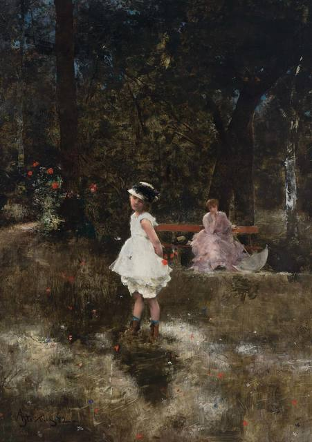 Alfred Stevens, 'Les Papillons', 1882, Painting, Oil on panel, Doyle