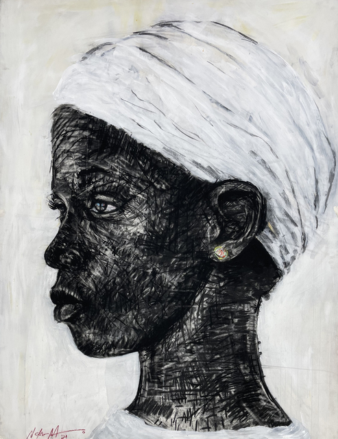 Nelson Makamo, 'Untitled', 2021, Drawing, Collage or other Work on Paper, Charcoal and acrylic on paper, MAKASIINI CONTEMPORARY