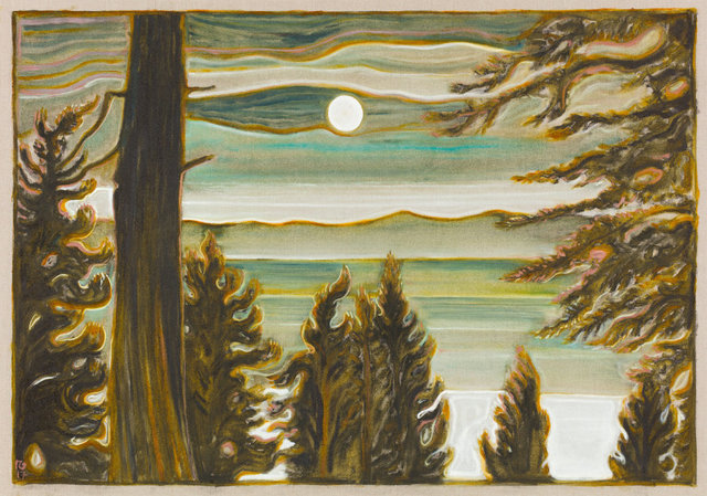 , 'moon and clouds over lake,' 2017, Lehmann Maupin