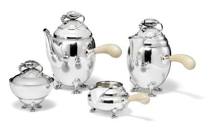 """Blossom"". Sterling silver coffee set."