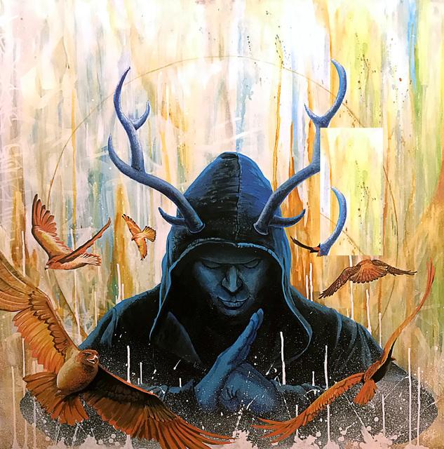 SEL, 'Meditative Rage', 2019, Mixed Media, Acrylic and spray paint on panel, Corey Helford Gallery