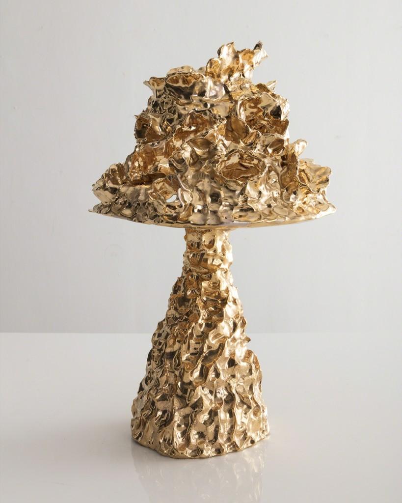 Unique table lamp in gold ceramic