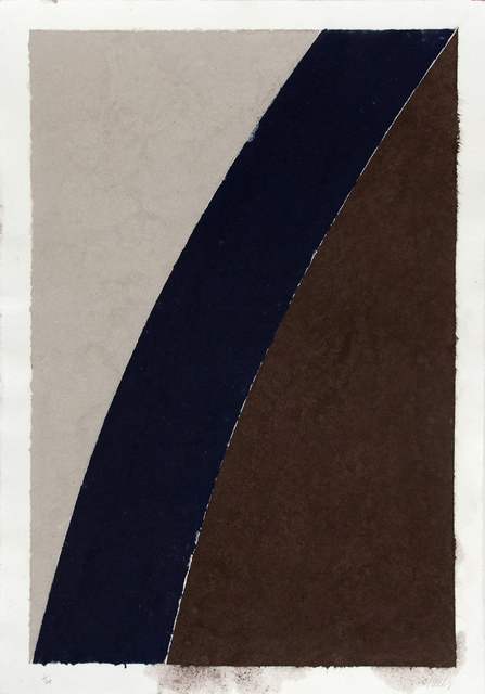 Ellsworth Kelly, 'Colored Paper Image XII (Blue Curve and Gray)', 1976, Print, Colored and pressed paper pulp, Mary Ryan Gallery, Inc