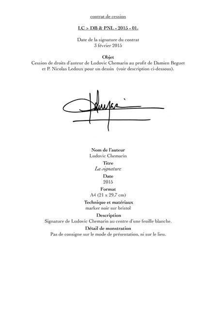 , 'Contrats de cession La Signature,' 2015, mfc - michèle didier