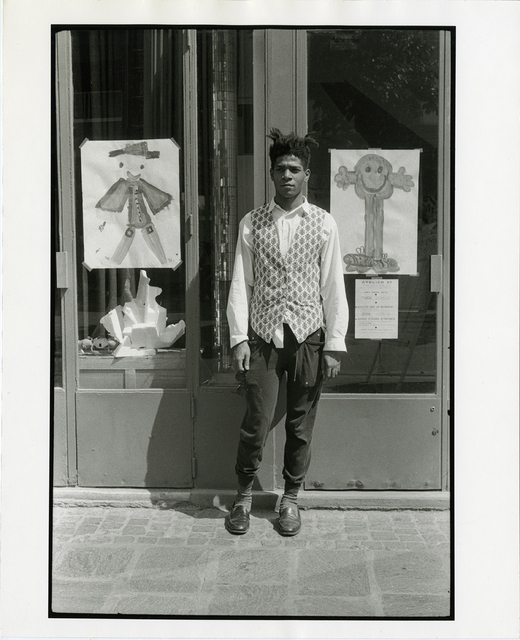 , 'Jean-Michel Basquiat Standing outside Printmaking Studio Paris, France, July 1985,' 1985, McCaig-Welles