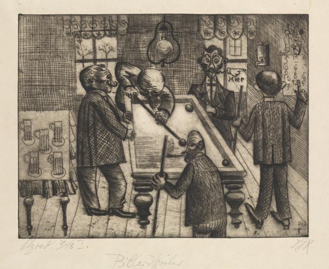 , 'BILLARDSPIELER,' 1920, Jörg Maass Kunsthandel