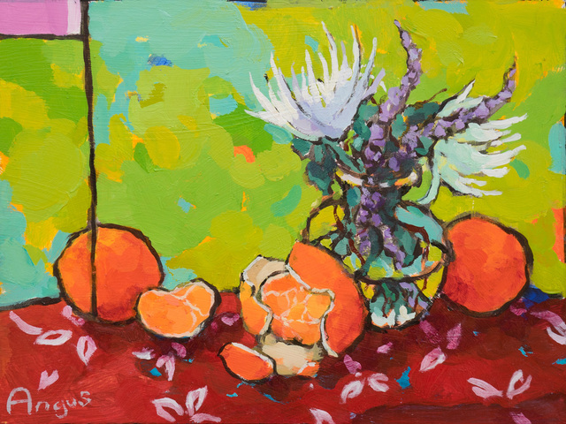 , 'Three Tangerines Over Red and Green,' 2019, Ventana Fine Art