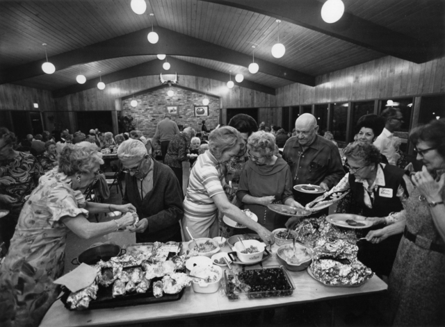 Bill Owens, 'Mobile Home Communities are no longer just trailer parks. We have a sense of stableness. We get together at the recreation center for monthly pot-luck dinners and for other activities. More important you have a neighbor to count on if you need help, from Our Kind of People series', ca. 1970's, Etherton Gallery