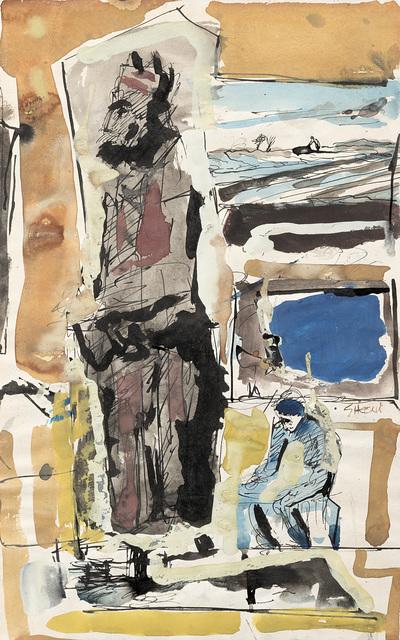 """Mario Sironi, '""""Composizione"""" on the reverse """"Studi""""', Il Ponte"""