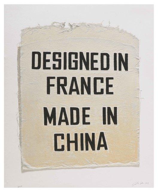 Analia Saban, 'Designed in France, Made in China, Clothing Tag', 2019, Mixografia