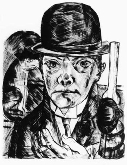 , 'Selbstbildnis mit steifem Hut (Self-portrait in Bowler Hat).  ,' 1921, Alice Adam Ltd.