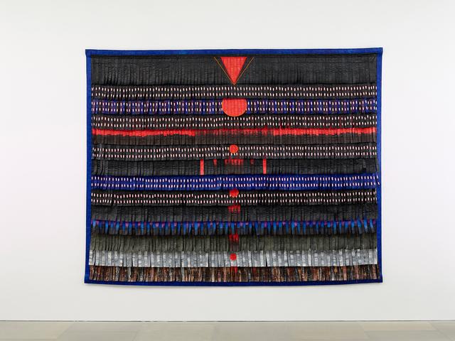 , 'Noir-bleu aux triangles et cercles rouges,' 2017, GRIMM